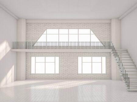 Abstrakt modernen Architektur Hintergrund, leere weiße offene Raum Interieur. 3D-Rendering Standard-Bild - 81623842