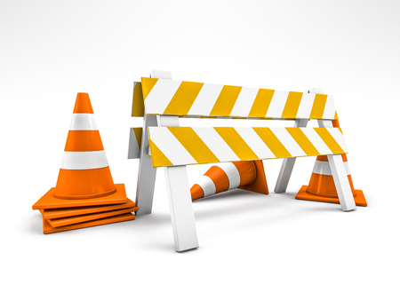 Straßenreparatur, im Bau Straßenschild. 3D-Rendering