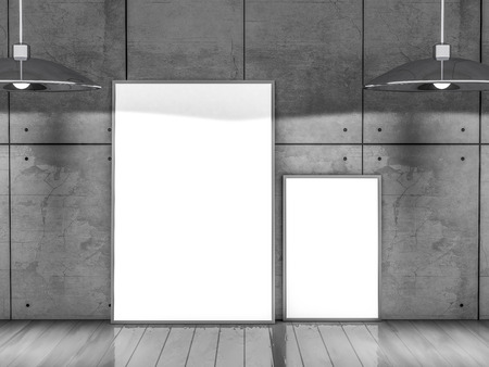 lamp light: Mockup poster frame Image, simple scene. 3D rendering