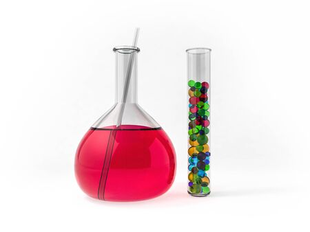 Chemistry flasks with liquid on color background. 3D rendering