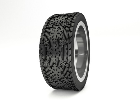traction: Winter tires with snowflake protector. 3D rendering