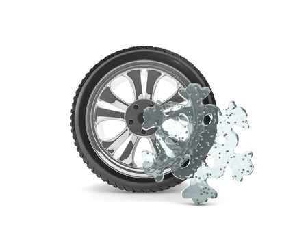 Winter tires with snowflake protector. 3D rendering
