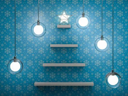 Bookshelf shaped christmas tree. 3D rendering Stock Photo