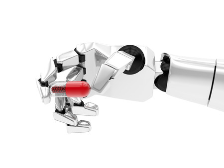 Concept of a robotic mechanical arm with drug. 3D rendering Stock Photo