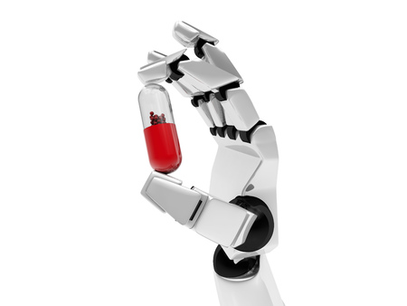 Concept of a robotic mechanical arm with drug. 3D rendering Standard-Bild