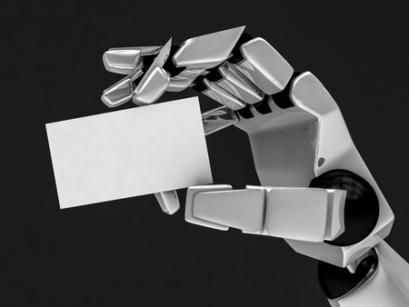 cybernetics: Concept of a robotic mechanical arm with business card. 3D rendering