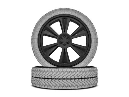 traction: Wheels with blackened rim. Sketch. 3D rendering