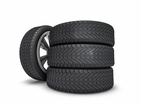 traction: Winter set tires with hard protector. 3D rendering