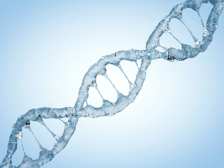 Close up of a diagonal DNA Chain of water. 3D rendering