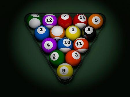 Pool billiard balls in starting position. 3D rendering Stock Photo
