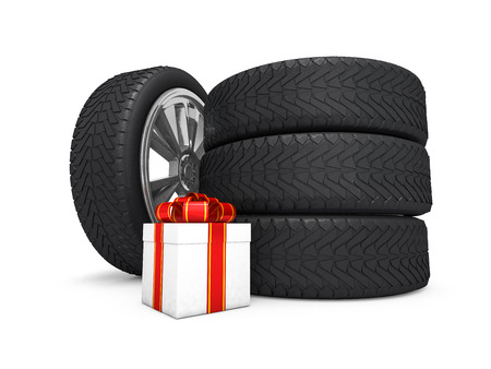 Car wheels with big white gift box, white background. 3D rendering Stock Photo