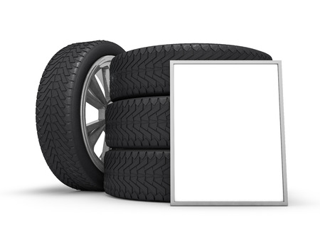 garage: Car wheels with big white gift box, white background. 3D rendering Stock Photo