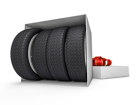 Gift box with tyres and wheels. 3D rendering