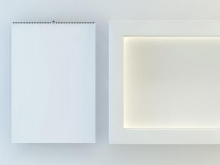 부드러운 그림자와 함께 오픈 커버 빈 디자인 달력 서식 파일. 3D 렌더링