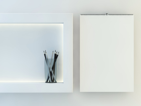 Blank design calendar template with open cover with soft shadows. 3D rendering Stock Photo