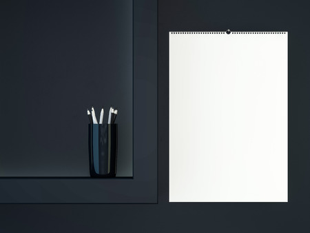 Blank design calendar template with open cover with soft shadows. 3D rendering Banco de Imagens