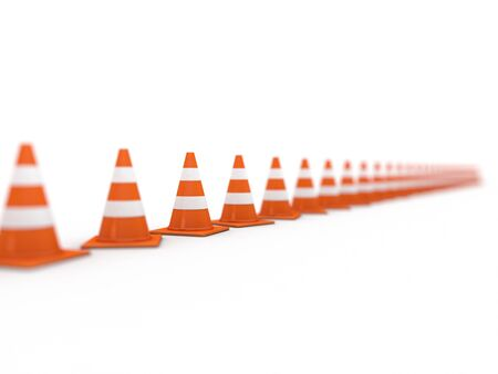 reflection: Traffic cones on white background. 3D rendering