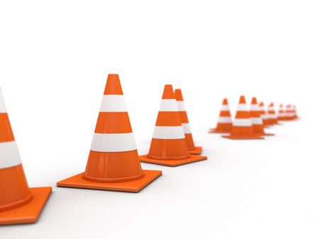 Traffic cones on white background. 3D rendering