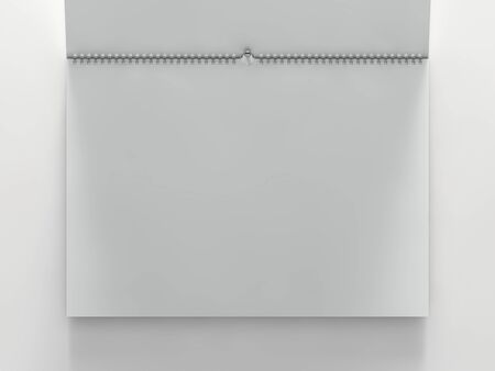 Blank design horizontal calendar template with soft shadows. 3D rendering