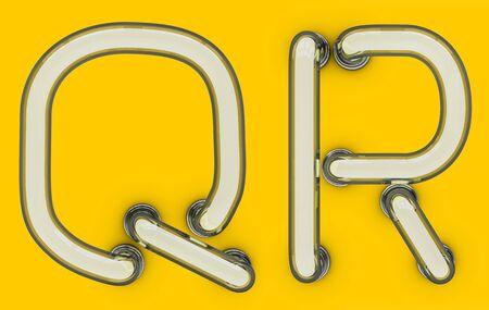 Letra de tubo de neón sobre fondo amarillo. Representación 3D Foto de archivo