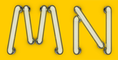 Neon tube letter on yellow background. 3D rendering Stock Photo