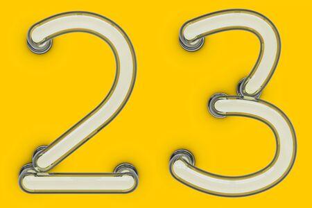 Número de tubo de neón sobre fondo amarillo. Representación 3D