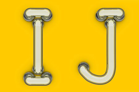Neon tube letter on yellow background. 3D rendering Stok Fotoğraf