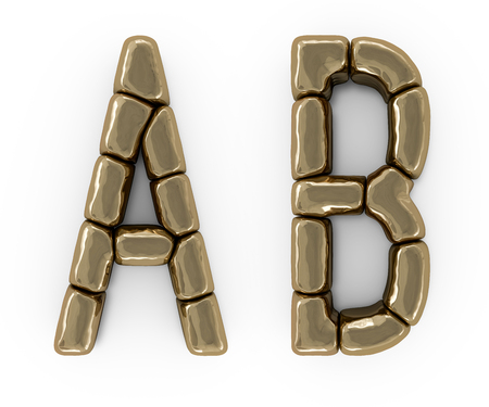 Set of letters, numbers and symbols from gold bars. 3D rendering Stock Photo