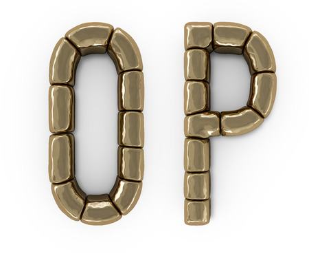 Set of letters, numbers and symbols from gold bars. 3D rendering Banco de Imagens