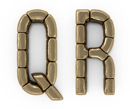 Set of letters, numbers and symbols from gold bars. 3D rendering Stock fotó