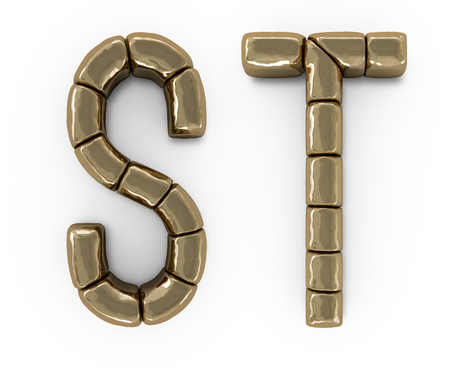 Set of letters, numbers and symbols from gold bars. 3D rendering Stok Fotoğraf