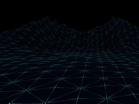 Digital landscape. Abstract wireframe background. 3D rendering Banque d'images - 95444991