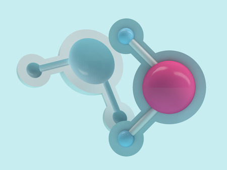 Water molecule. Ecology, biology and biochemistry concept. 3D rendering