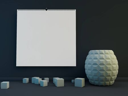 Blank design square calendar template with soft shadows. 3D rendering Stock Photo