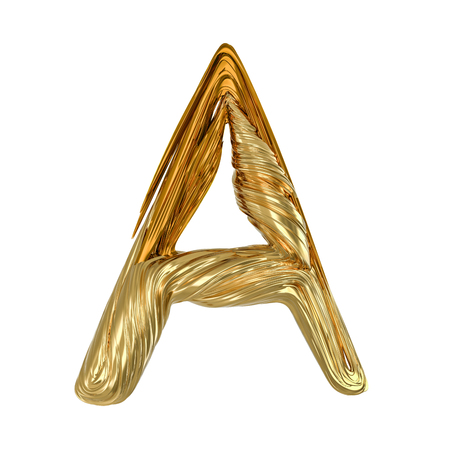 Image of gold color alphabet isolated on white. 3D rendering