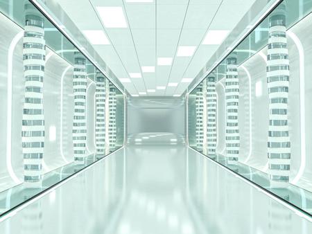 Abstract modern architecture background, empty open space interior. 3D rendering Standard-Bild
