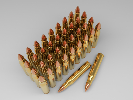 Couple of bullets on a white background in the vertical position. 3D rendering Stock Photo