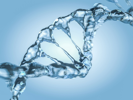 Close up of a diagonal DNA Chain of water. 3D rendering Imagens