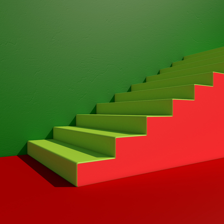 Wall with stairs background, minimalistic style for base image for posters. 3D rendering Фото со стока
