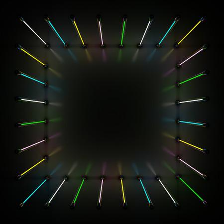 Lighting light lamp neon tubes glowing in dark room. 3D rendering