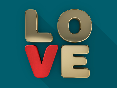 Word love over background with reflection. 3D rendering.
