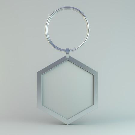 Blank metal trinket. Mockup 3D rendering
