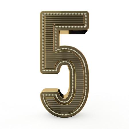 Simbolo dorato dell'alfabeto. Numero 5. Rendering 3D Archivio Fotografico