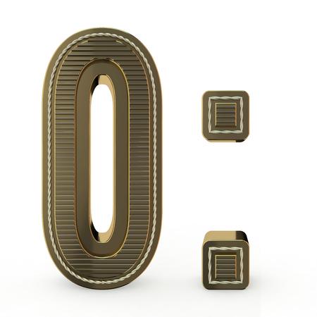 Simbolo dorato dell'alfabeto. Numero 0. Rendering 3D