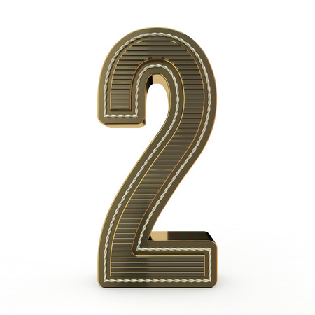 Golden symbol of the alphabet. Number 2. 3D rendering
