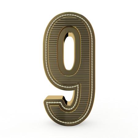 Golden symbol of the alphabet. Number 9. 3D rendering