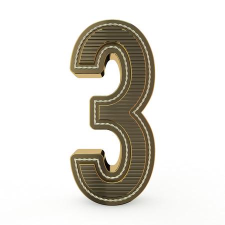 Símbolo dorado del alfabeto. Número 3. Representación 3D