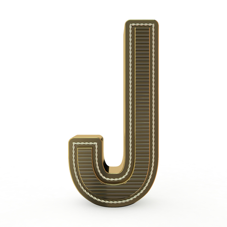 Golden symbol of the alphabet. Letter. 3D rendering