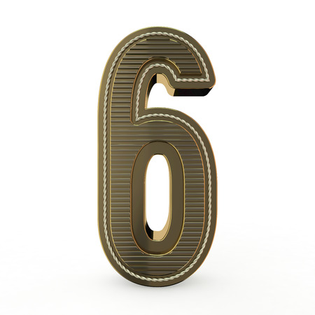 Golden symbol of the alphabet. Number 6. 3D rendering