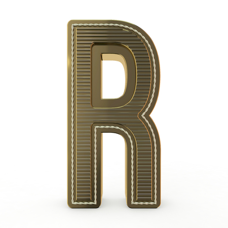 Símbolo dorado del alfabeto. Letra. Representación 3D Foto de archivo